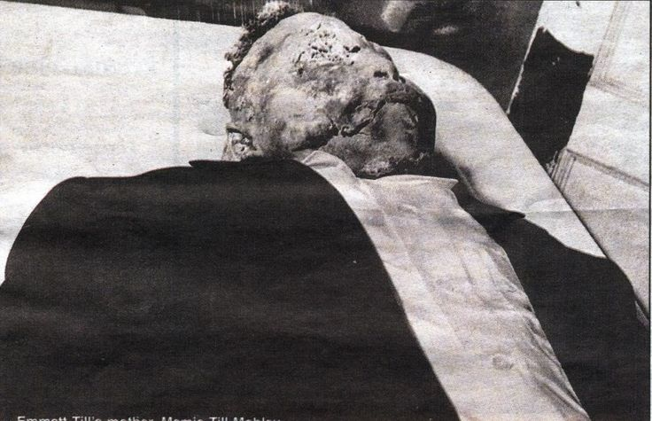 One of the famous pictures of a brutally beaten and decomposing Emmett Till