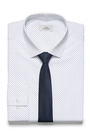 White Print Slim Fit Shirt And Tie Set