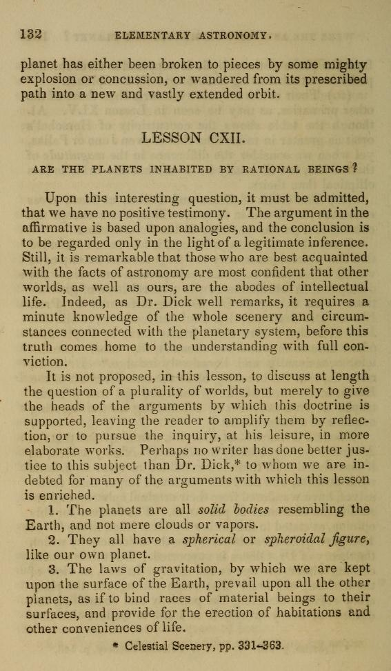 "1847 Elementary astronomy; ""Are the planets inhabited by rational beings?"" Suggests that people in the know think  the planets, and quite possibly the sun, are inhabited."