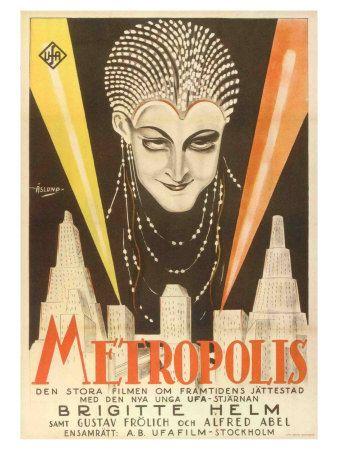 Metropolis, Swedish Movie Poster, 1926 - Gicleetryck på AllPosters.se