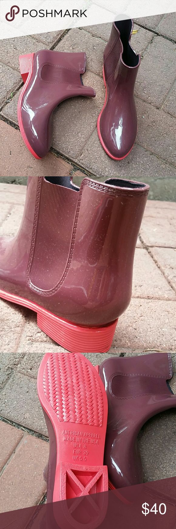 American Apparel jelly ankle rain boots NEW American Apparel a little above ankle rain boots. Super limited!  Can even be used as reg boots, super comfortable.  Burgundy and red combo . New never worn . American Apparel Shoes Ankle Boots & Booties