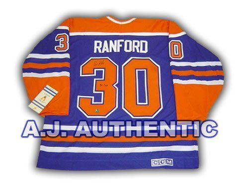 BILL RANFORD Edmonton Oilers SIGNED Hockey JERSEY w/ 90 Cup Inscription . $350.55. This is an official licensed SIGNED Bill Ranford Edmonton Oilers jersey. The jersey is brand new with all of the lettering and numbering professionally sewn on. The player has beautifully signed the number. To protect your investment, a Certificate Of Authenticity and tamper evident hologram from A.J. Sports World is included with your purchase.