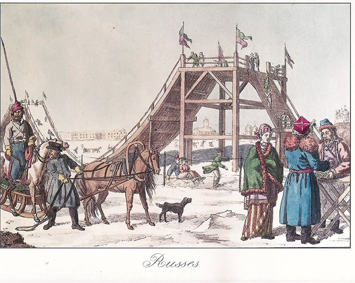 Неизвестный литограф. Петербург. Катание с гор на масленой. Первая четверть XIX века. Литография, акварель