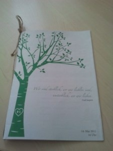 selfmade booklet for church ceremony