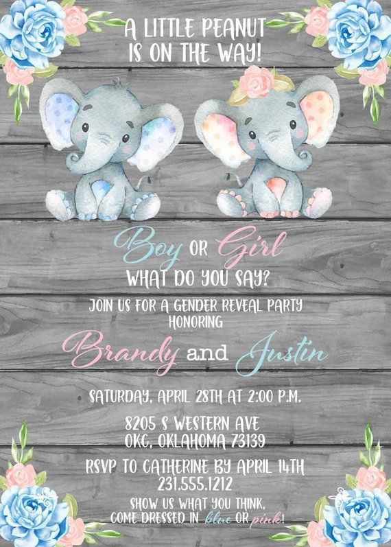 Elephant Gender Reveal Invitation Printable Floral Pink Or Blue