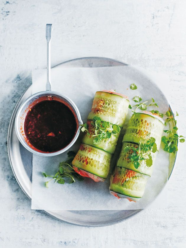 Spicy Tofu And Green Tea Noodle Rice Paper Rolls | Donna Hay