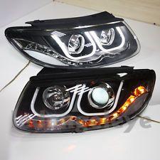 2007 hyundai santa fe chrome led lights | For Hyundai Santa Fe LED Angel Eyes Headlight Projector Lens 2006-2012 ...