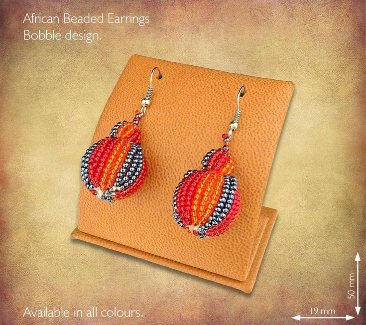 African Beaded Earrings - Bobble design. Handmade in South Africa by highly skilled Zulu Beadworkers. Wide range of African Beaded Jewelry available on our website www.earthafricacurio.com