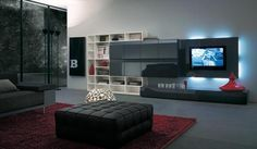 Modern TV Wall Units for Living Room Designs - Image 02 : Black Exquisite TV Wall Mount