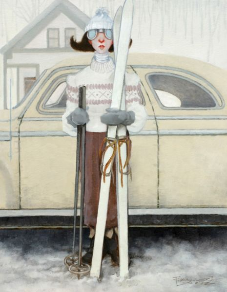 Girl dressed ready for skiing ... holding her skis in front of her car FROM: Hairspray All Day