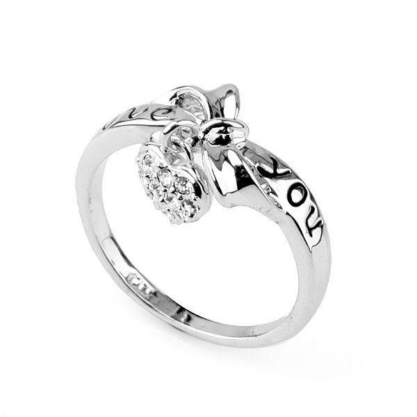 Рекламные в форме сердца кольцо / в форме сердца алмазов регулируется кольцо из тебя письмо с пасха ювелирные изделия