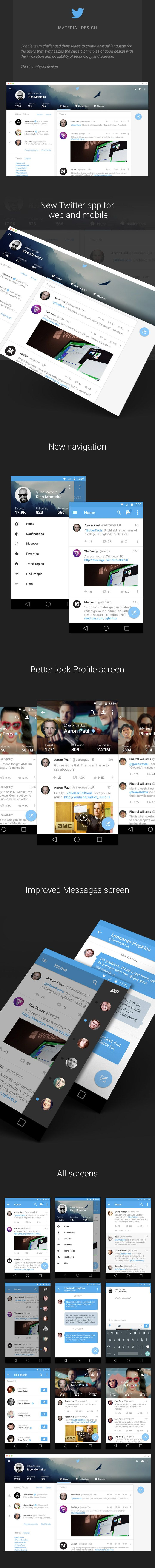 How Twitter for web and Android could be if following Material Design Guidelines. #ui #interface #mobile by rico monteiro