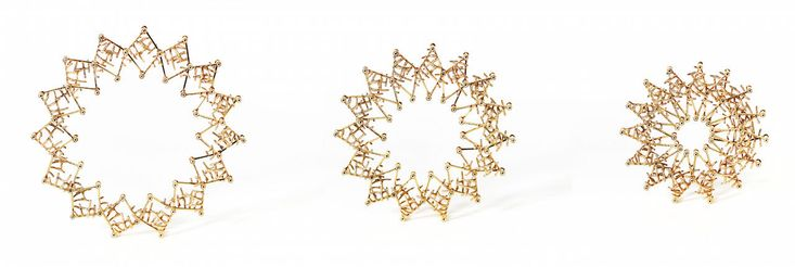 Ieva Mikutaite Brooch: Expanding, 2015 Gold plated silver three views: