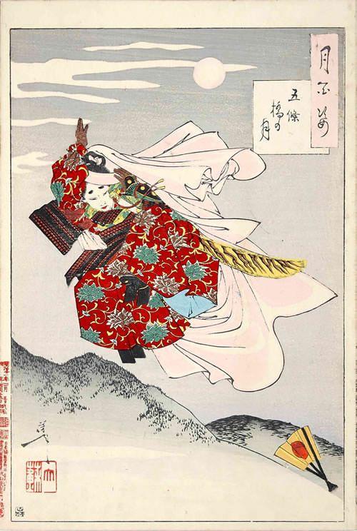『五条橋の月』(『月百姿』シリーズ、作・月岡芳年)