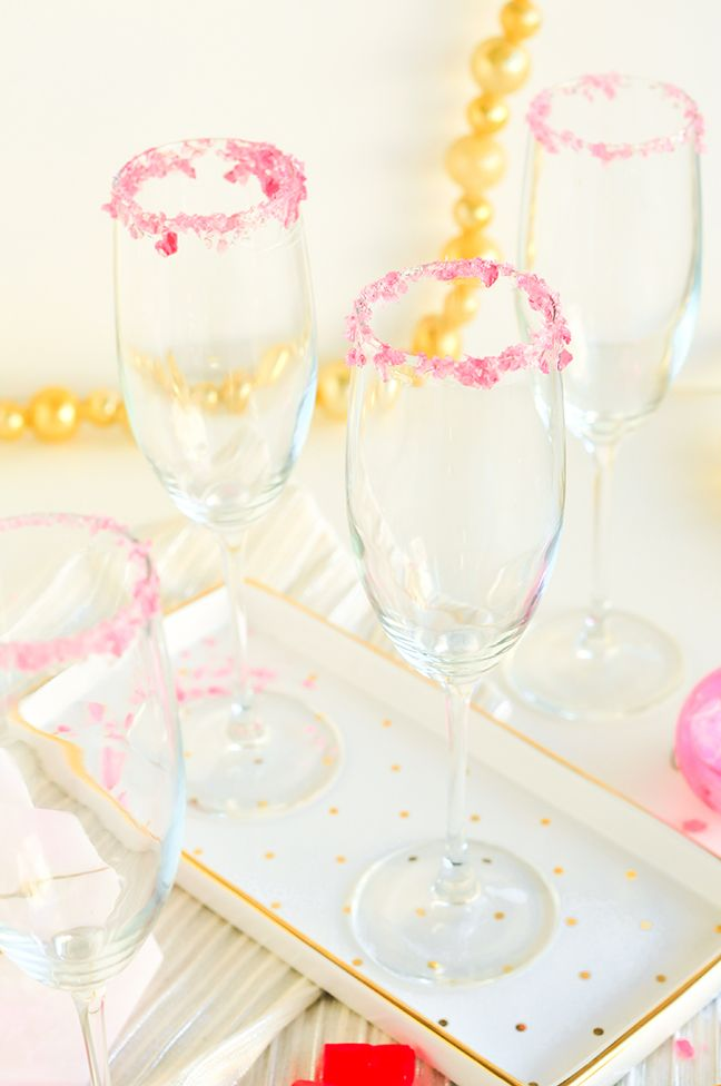candied rim champagne flutes - how to rim a glass with Pop Rocks or Jolly Ranchers