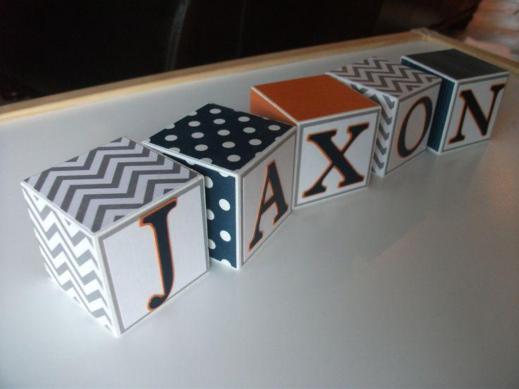 Wooden Name Blocks - Baby Name Blocks - Navy Gray Orange. $5.00, via Etsy. DIY - with scrap paper