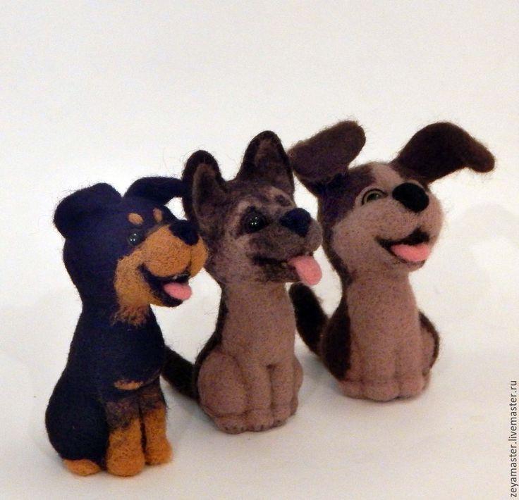 Купить Веселые щенята - коричневый, собака, игрушка собака, игрушка из шерсти собака, маленькая собачка