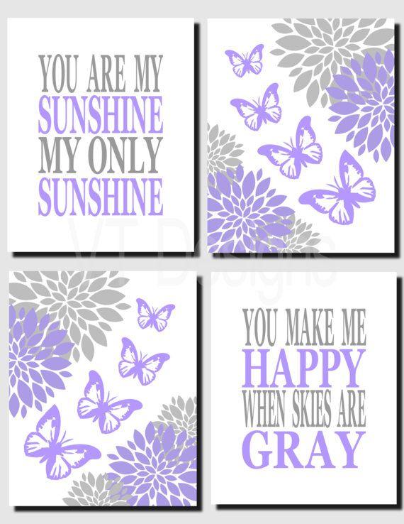 Purple Gray Nursery Art Butterflies Wall Art Flowers by vtdesigns