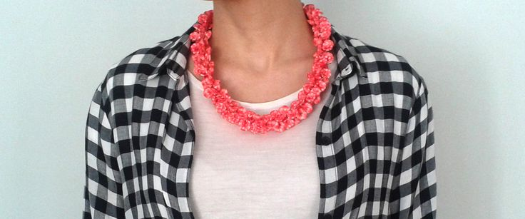 handmade polymer clay necklace  with coral red petals