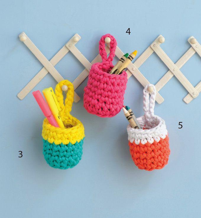 カラフルな色使いがかわいい!ズパゲッティのペン立ての作り方(ニット・編み物) | ぬくもり