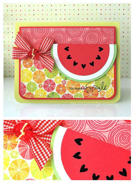 You Make Me Smile: Watermelon Cards, Smile I, Cards Ideas, Summer Cards, Birthday Cards, Cute Pet, Heart Seeds, Summer Birthday, Watermelon Slices