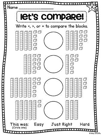 Use place value strategies to practice greater than less than and other great first grade math worksheets and activities