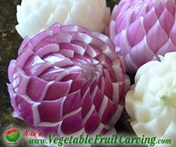 Carved purple onion flower diy Craft +++ Cebollas purpura y blancas  tallada como flor Arte DECORACION DE BUFFET CATERING