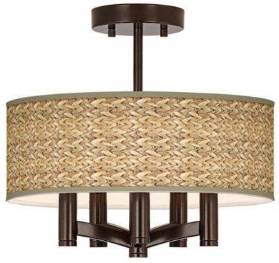 Ava Bronze With Seagrass 5-Light Ceiling Light - Euro Style Lighting