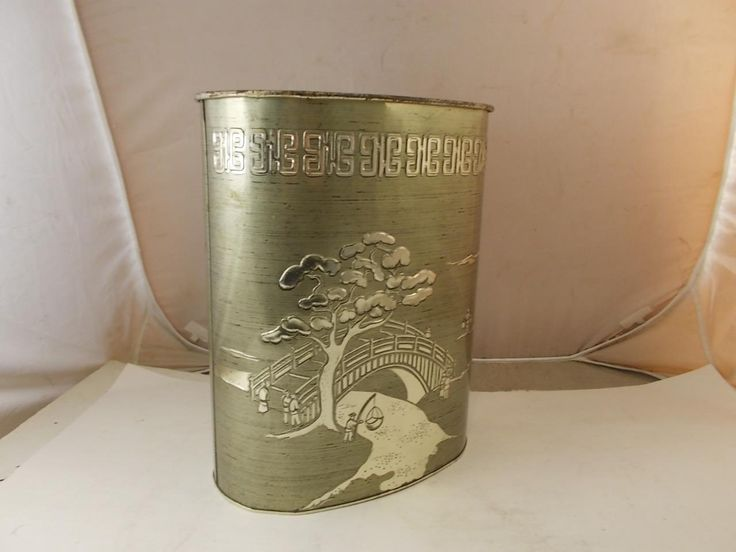 19 95 15 36 Shipping Vintage Harvell Metal Tin Wastepaper Basket Trash Can Gold Chinese Bridge