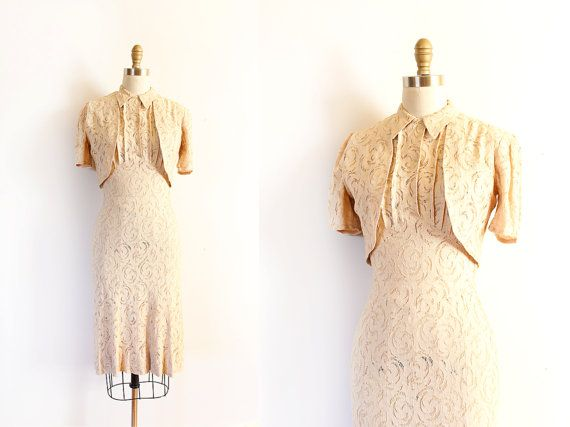 vintage 1930s dress // 30s tan lace dress with by TrunkofDresses