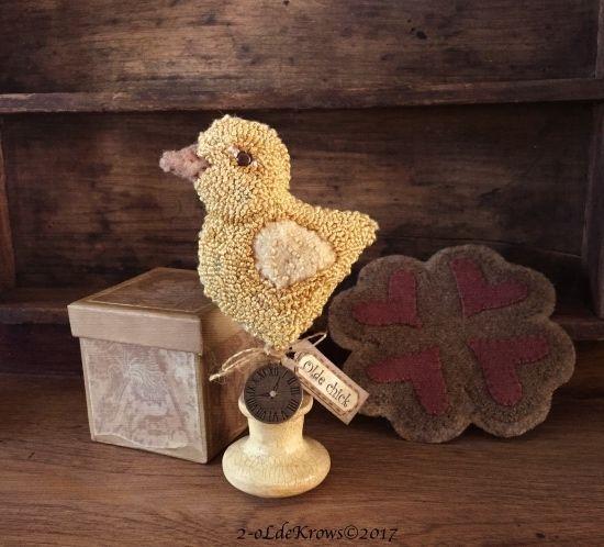 -Olde Chick- Primitive Original Punch Needle Easter Spring Make-do Wool Mat OOAK #NaivePrimitive