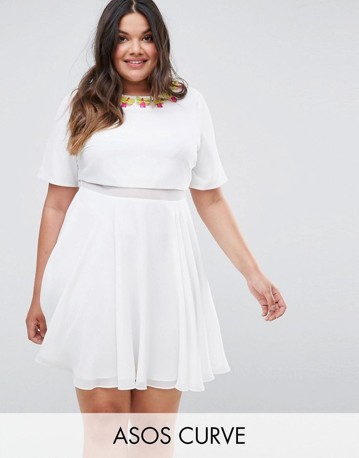 ASOS CURVE 3D Embellished Crop Top Mini Skater - White