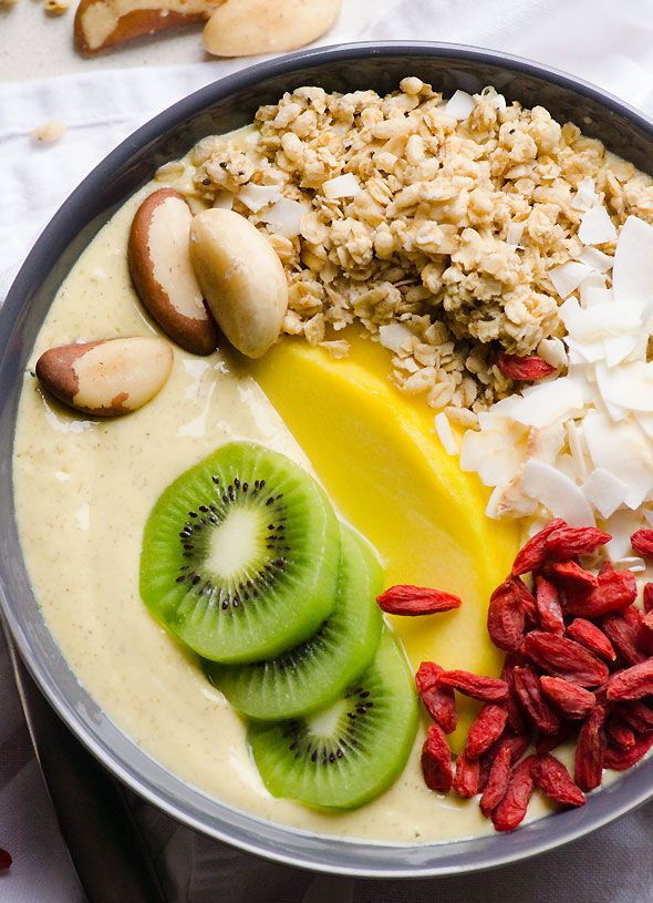 Mango Lassi Smoothie Bowl - Smoothie turned into a delicious tropical ...