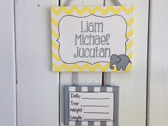Yellow and gray elephant baby hospital door sign by LillouHandmade