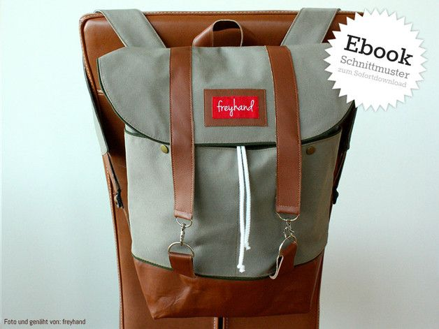 Schnittmuster für einen lässigen Rucksack, Taschen nähen / diy sewing instruction: casual backpack made by Kreativlabor Berlin via DaWanda.com