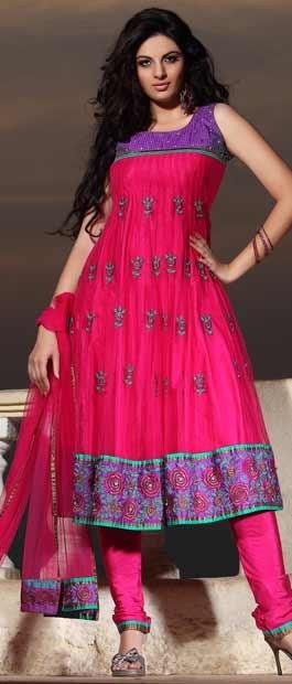 #Pink and #Purple Net Readymade Flair Churidar Kameez with Dupatta @ $145.50 | Shop Here: http://www.utsavfashion.com/store/sarees-large.aspx?icode=kan1