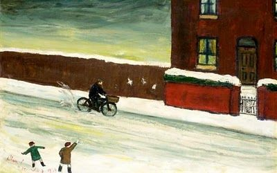 """Cyclist in the Snow"" by Alan Lowndes (1921 - 1978)"