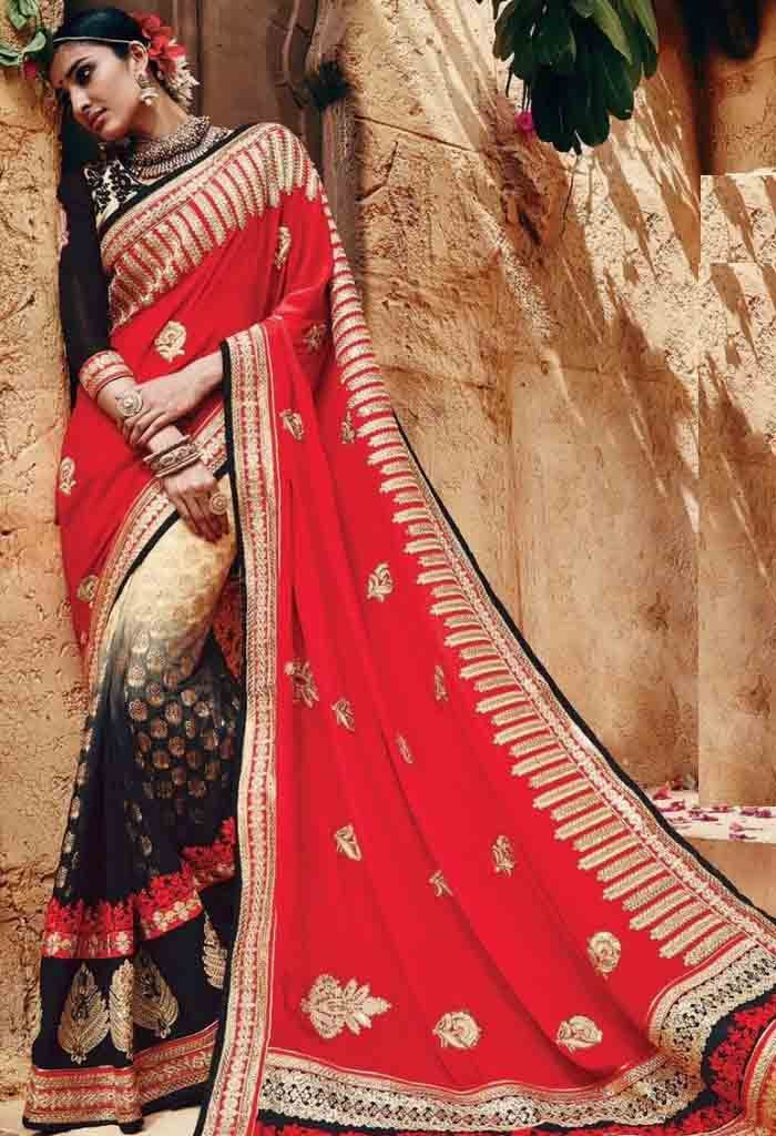 Red Net,Chinon Designer Saree With Heavy Embroidery Work..@ fashionsbyindia.com