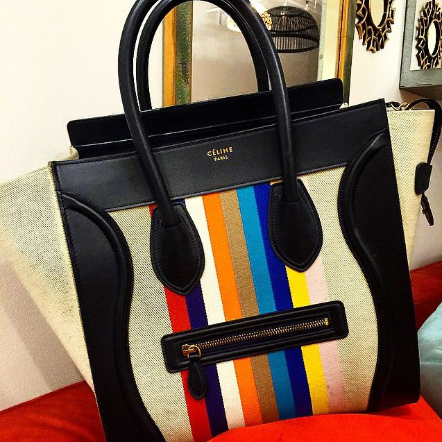 Celine Canvas Color Stripe Mini Luggage Tote Bag | Celine, Totes ...