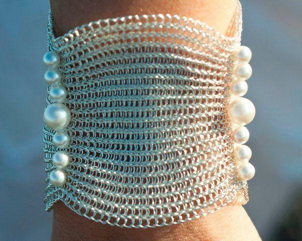 Bridal cuff wire crochet handmade bracelet Swarovski  pearls wedding  cuff bracelet  Extra wide cuff with big pearls by KvinTal on Etsy