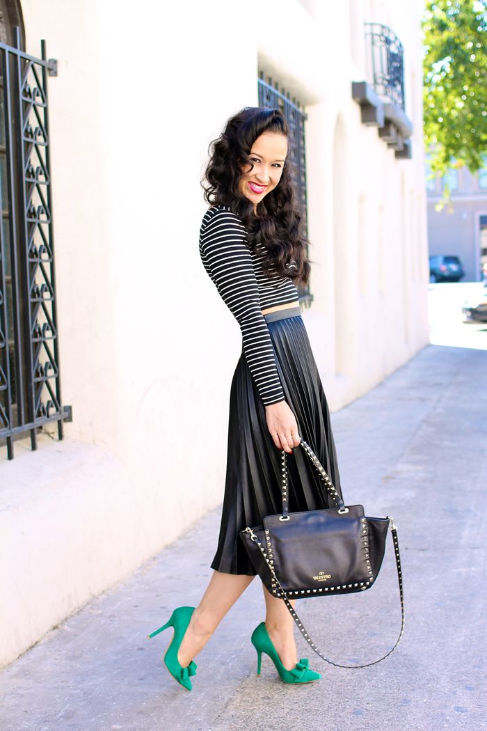 9 best images about faux leather midi skirt on Pinterest | Striped ...