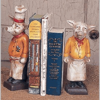 These have been a favorite for years - Chef Pig Bookends look great in any kitchen!