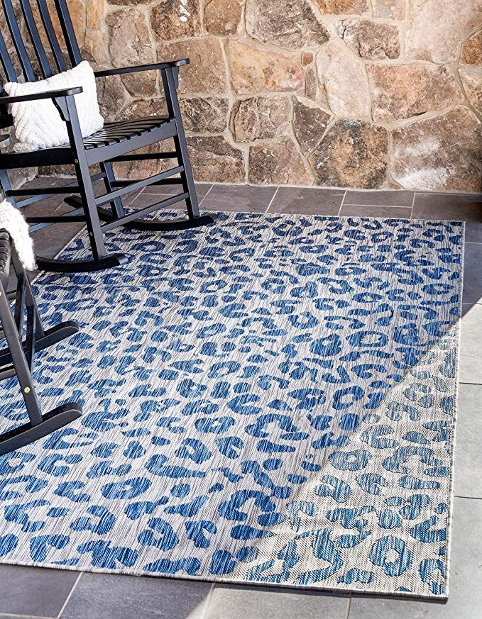 Unique Loom Outdoor Safari Collection Leopard Animal Print Transitional Indoor And Outdoor Flatweave Blue Area Rug Outdoor Rugs Area Rugs Indoor Outdoor Rugs