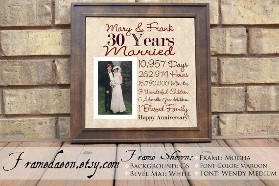 Wedding Anniversary 30th Wedding Anniversary Gift by framedaeon