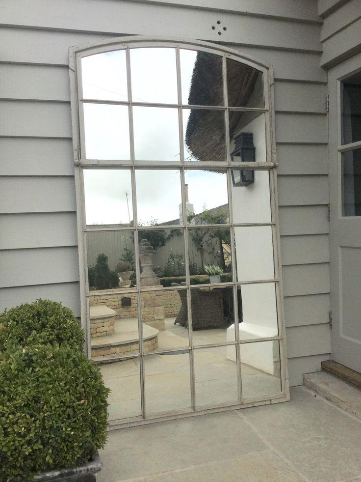 XXL French 19thC Architectural Window Mirrors