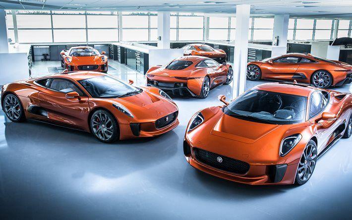 Jaguar C-X75, 4k, 2017 cars, garage, Spectre, hyper cars, Jaguar