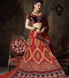 Buy Maroon silk mirror work bridal-lehengas bridal-lehenga online
