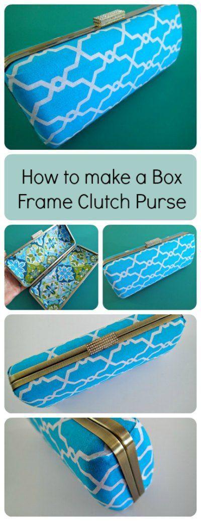 Como fazer com que esta bolsa de embreagem caixa de moldura.  Eu não sabia que era tão fácil!  Parece muito profissional, mesmo eu posso fazer isso.  Nenhuma costura envolvido.