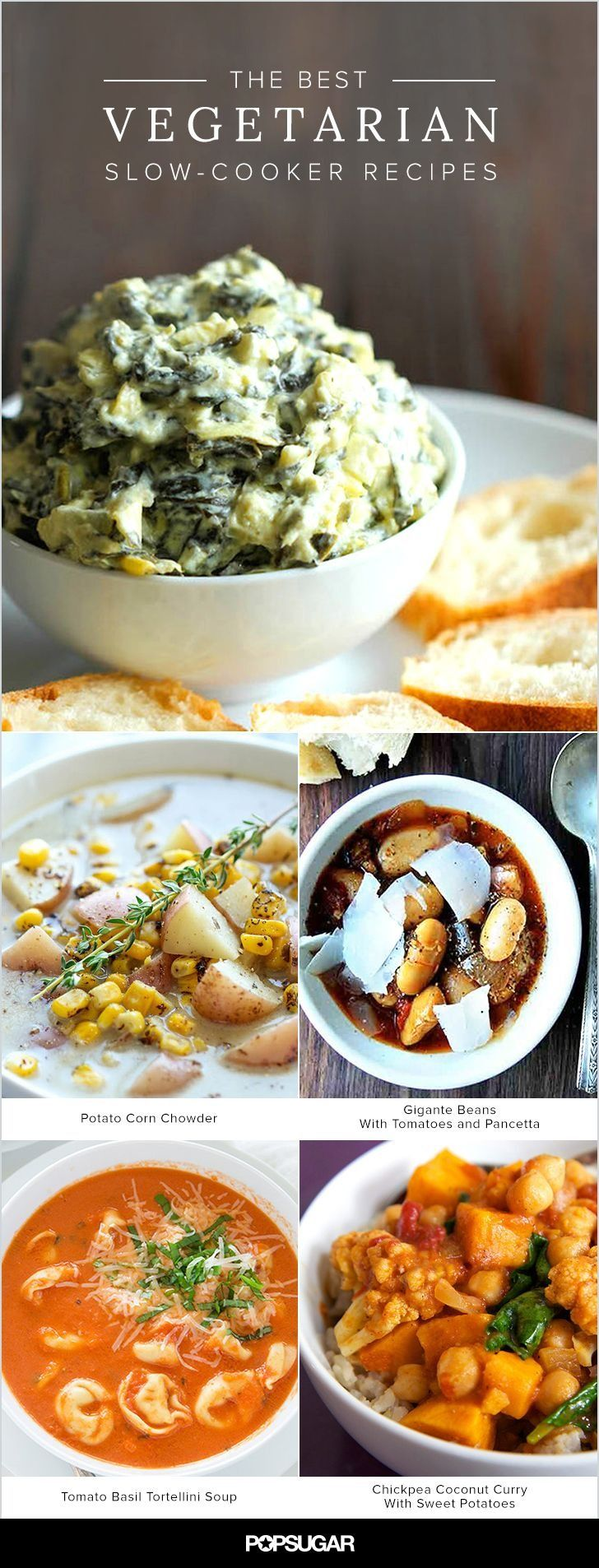 "There are plenty of killer vegetarian dishes that can be made the hands-off way, including chili, soups, ""roasted"" potatoes, beans, and much more. Keep reading for 14 ideas. Do note that a few of the recipes included aren't strictly vegetarian; in those cases we've included a note on how to adapt the recipe for a vegetarian diet."