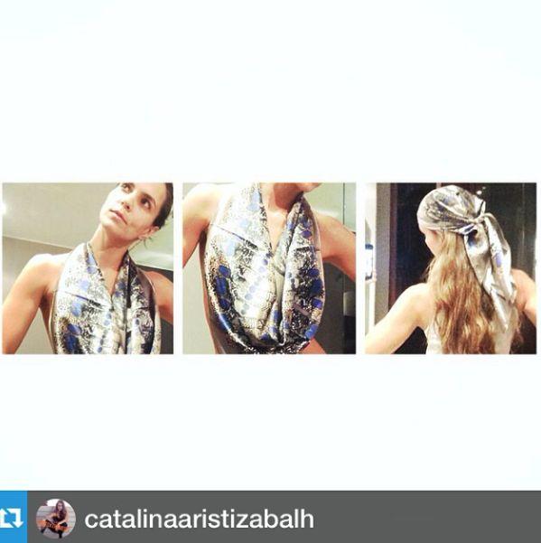 @catalinaaristizabalh con nuestro #peacockpheasant silk scarf.